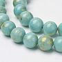 Natural Mashan Jade Beads Strands, with Gold Powder, Dyed, Round, Turquoise, 6mm, Hole: 1mm; about 62pcs/strand, 16''