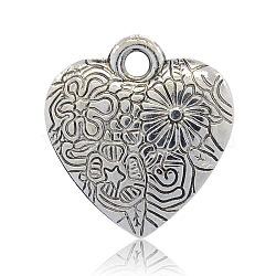 Пластмассовые подвески ccb, сердце резные цветочные узоры, античное серебро, 25x24x5 мм, отверстие : 3 мм(CCB-J027-47AS)