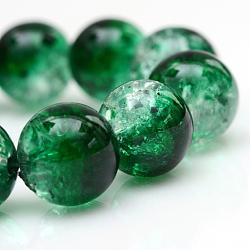 """Cuisson peints en verre craquelé brins de perles, rond, darkgreen, 4 mm; trou: 1.1~1.3 mm; environ 200 pcs / brin, 31.4""""(X-CCG-S001-4mm-19)"""