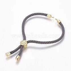 makings bracelet en nylon, bracelets de slider, avec les résultats en laiton environnement, plaqué longue durée, sans cadmium et sans nickel et sans plomb, gris, véritable plaqué or, 8-1 / 4 (210 mm); 3 mm, trou: 2.5(X-MAK-P005-04G)