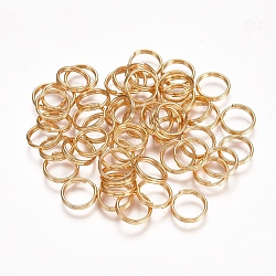 304 Stainless Steel Split Rings, Golden, 8x1.5mm; about 6.5mm inner diameter; Single Wire: 0.75mm(X-STAS-H413-05G-C)