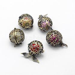 Pendentifs de cage en laiton, carillon boule, laiton avec des perles de cloche, sans plomb et sans cadmium, shpes mixtes, bronze antique, 26~30x26~30.5x23~24mm, Trou: 4~5.5x4.5~7mm(KK-F722-50AB-RS)