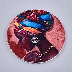 Gros pendentifs en bois imprimés, teint, rond plat avec dame de la mode, colorées, 60x2.5mm, Trou: 1.5mm(X-WOOD-S047-18)