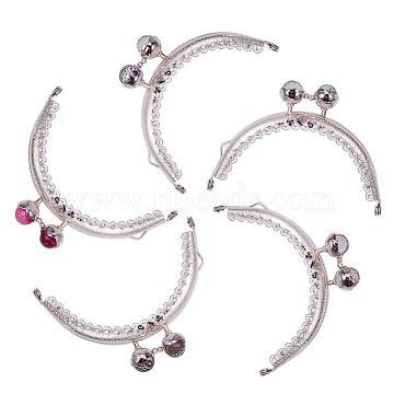 PandaHall Elite Iron Purse Frame Handle, with Half Round Resin Beads, for Bag Sewing Craft Tailor Sewer, Platinum, Mixed Color, 60x86x11mm, Hole: 1.5mm, 1pc/color, 5pcs/set(FIND-PH0015-18)