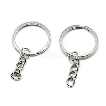 Iron Split Key Rings, Keychain Clasp Findings, Platinum, 50mm(X-IFIN-T004-22P)