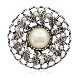 fleur argent antique plaqué alliage cabochons de perles acryliques, blanc crème, 59x10 mm(PALLOY-J642-01AS)
