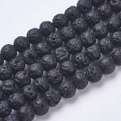 """Chapelets de perles de lave naturelle, teint, rond, 4.5~5mm, trou: 1mm; environ 88 pcs/chapelet, 15.3"""" (39 cm)(G-J346-37-4mm)"""