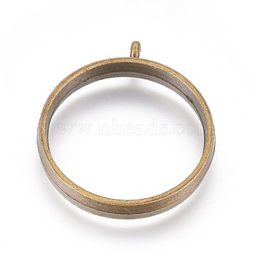 Alloy Open Back Bezel Pendants, Cadmium Free & Lead Free, For DIY UV Resin, Epoxy Resin, Pressed Flower Jewelry, Ring, Antique Bronze, 32.5x28.5x4.5mm, Hole: 2mm; Inner Diameter: 25mm(X-PALLOY-WH0030-01AB)