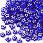 Glass Beads, Flower, Blue, 5~7x5~7x2~3mm, Hole: 1mm