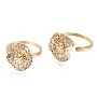 Brass Micro Pave Clear Cubic Zirconia Peg Bails Cuff Finger Ring Settings, for Half Drilled Bead, Nickel Free, Real 18K Gold Plated, US Size 6 3/4(17.1mm), Pin: 0.7mm(for Half Drilled Bead)