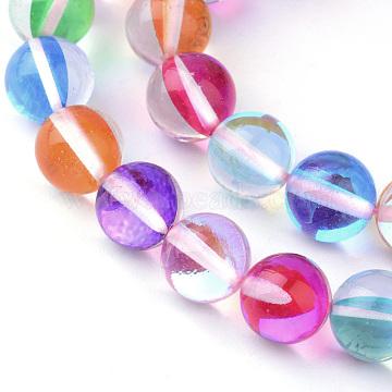 Brins synthétiques de perles de lune, teints, arrondir, coloré, 6 mm, trou: 1 mm; environ 62 perle / brin, 15.5(X-G-R375-6mm-B08)