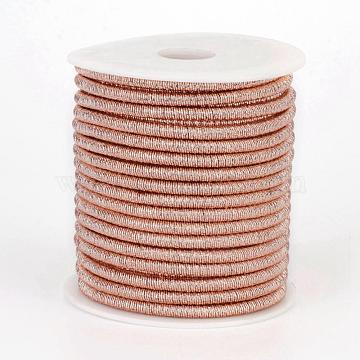 Polyester Cord, with Iron Chains Inside, DarkSalmon, 4x3.5~4mm; about 18yards/roll(MCOR-P004-03)