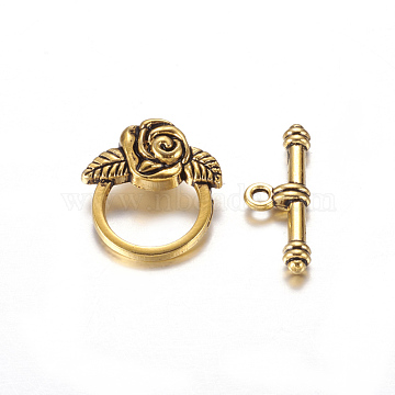 Tibetan  Style Alloy Toggle Clasps, Lead Free & Cadmium Free & Nickel Free, Antique Golden, Size: Flower: 18mm wide, 19mm long, Bar: 4mm wide, 24mm long, hole: 2mm(X-GLF0026Y-NF)