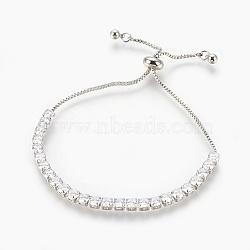 """Bracelets bolo en laiton, Bracelets coulissants, avec zircons, carrée, clair, platine, 1-1/8""""~2-5/8"""" (3~6.8 cm)(BJEW-P232-01P-01)"""