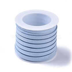 Cordon de suédine, dentelle de faux suède, bleu clair, 4x1 mm; sur 5 m / rouleau(LW-XCP0002-03A)
