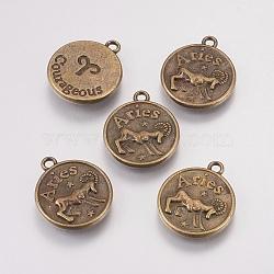 тибетские сплава типа, плоские круглые, Овен, античная бронза, 20x17x2.5 mm, отверстия: 2 mm(TIBEP-XCP0002-01AB)