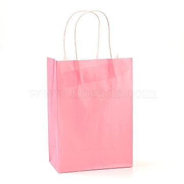 Pure Color Kraft Paper Bags, Gift Bags, Shopping Bags, with Paper Twine Handles, Rectangle, Pink, 21x15x8cm(AJEW-G020-B-11)
