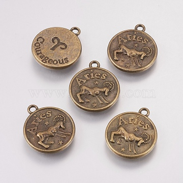 Antique Bronze Flat Round Alloy Pendants