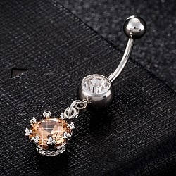 Piercing Jewelry, Environmental Brass Cubic Zirciona Navel Ring, Belly Rings, with Use Stainless Steel Findings, Flower with Teardrop, Orange, 38x11mm; Pin: 1.5mm(AJEW-EE0003-01C)