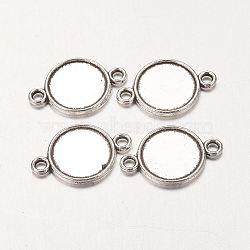 Supports de connexion plats en alliage de cabochon rond, sans plomb et sans cadmium, argent antique, 18x12x2mm, Plateau: 10 mm, Trou: 2mm(X-PALLOY-A13117-AS-RS)