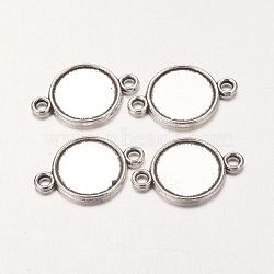 Плоские круглые параметров соединителя сплав кабошон, без свинца и без кадмия, античное серебро, 18x12x2 мм, лоток : 10 мм, отверстие : 2 мм(X-PALLOY-A13117-AS-RS)