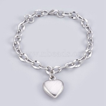 304 Stainless Steel Pendant Bracelets, with Cable Chains and Lobster Claw Clasps, Heart, Stainless Steel Color, 7-3/4 inches(19.8cm), 7mm(BJEW-P237-05P)