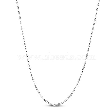 SHEGRACE 925 Sterling Silver Box Chain Necklaces, with Spring Ring Clasps, Platinum, 15.74 inches(40cm), 0.8mm(JN985A)