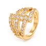 Кольца из латуни с микропаве, прозрачные кольца с кубическим цирконием, золотой, Размер 7, Внутренний диаметр: 17 mm