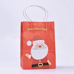 Sacs en papier kraft, avec poignées, sacs-cadeaux, sacs à provisions, pour les sacs de fête de Noël, rectangle, orange rouge , 21x15x8 cm(CARB-E002-S-B03)