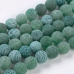 Natural Crackle Agate Beads Strands, Dyed, Round, Grade A, Green, 10mm, Hole: 1mm; about 39pcs/strand, 14.9inches