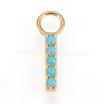 925 Sterling Silver Pendants, with Micro Pave Cubic Zirconia, Rectangle/Bar, Golden, Light Sky Blue, 10.5x1.5x1.5mm, Hole: 2.5mm(STER-D033-02E-G)