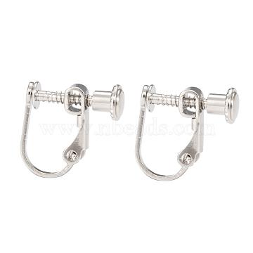 Brass Screw On Clip-on Earring Findings, For Non-Pierced Ears, Platinum, 13~15x13x5mm(KK-L164-02P)