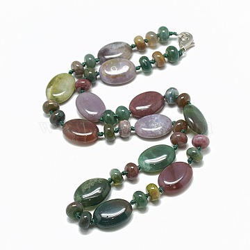 Natural Indian Agate Beaded Necklaces, with Alloy Lobster Clasps, Oval, 18.1 inches~18.5  inches(46~47cm), Oval: 18x13.5x5.5~6mm(NJEW-S394-12)