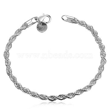 Unisex Brass Rope Chain Bracelets, with Lobster Clasps, Silver, 200x4mm(BJEW-BB12571)