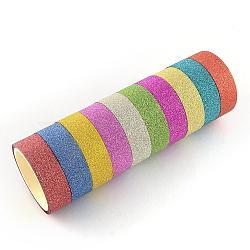 Glitter poudre bricolage scrapbooking rubans adhésifs décoratifs, avec du ruban adhésif sur l'autre côté, couleur mixte, 14.5 mm; environ 3 m/rouleau, 10 rouleaux / groupe(DIY-S028-02)