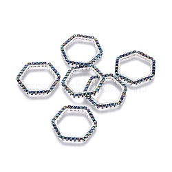 MIYUKI&reg & TOHO&reg Handmade Japanese Seed Beads, with 304 Stainless Steel Link Rings, Loom Pattern, Hexagon, Silver, DarkOliveGreen, 19~20x21x1.8~2mm(SEED-A028B-M-13S)