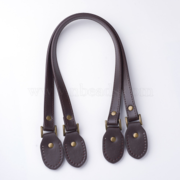 Imitation Leather Bag Handles, for Bag Straps Replacement Accessories, Oval, Coconut Brown, 640x18x3.5mm, Hole: 1.5mm(X-FIND-T010-04C)