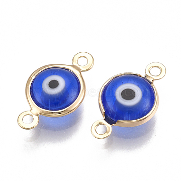 Real Gold Plated Blue Flat Round Brass+Enamel Links