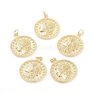 Brass Pendants, with Jump Rings, Long-Lasting Plated, Flat Round with Human, Real 18K Gold Plated, 21.8x18x2mm, Hole: 2.8mm(X-ZIRC-I043-07G)