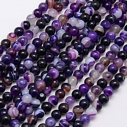 Round Dyed Natural Striped Agate/Banded Agate Beads Strands, Indigo, 6mm, Hole: 1mm; about 62pcs/strand, 14.8