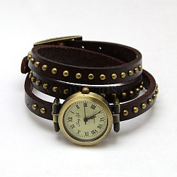 Fashionable Wrap Style Leather Roman Numeral watch Bracelets, with Antique Bronze Alloy Watch Dial, CoconutBrown, 610x8x5mm(WACH-M054-06)