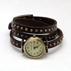 Bracelets de montres en cuir à la mode,  avec cadran de montre en alliage bronze antique , coconutbrown, 610x8x5mm(WACH-M054-06)