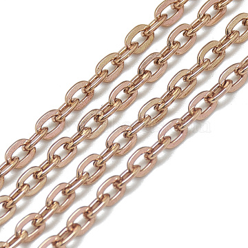 Aluminum Cable Chains, Unwelded, Flat Oval, Rose Gold, 4.6x3.1x0.8mm(CHA-S001-003A)