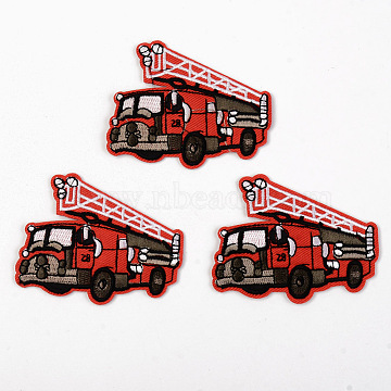 Computerized Embroidery Cloth Iron on/Sew on Patches, Appliques, Costume Accessories, Fire Fighting Truck, Red, 61x76x1.5mm(X-DIY-S040-010)