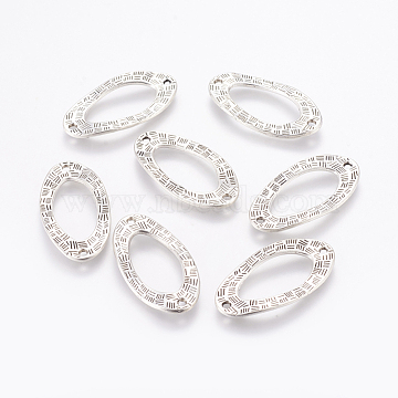 Tibetan Style Links connectors, Oval, Lead Free and Cadmium Free, Antique Silver Color, about 36x18x2mm, hole: 2mm(X-LF10446Y)