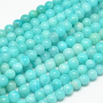 Grade AB Natural Gemstone Amazonite Round Beads Strands, 6mm, Hole: 1mm; about 65pcs/strand, 15.7inches(G-O017-6mm-08B)