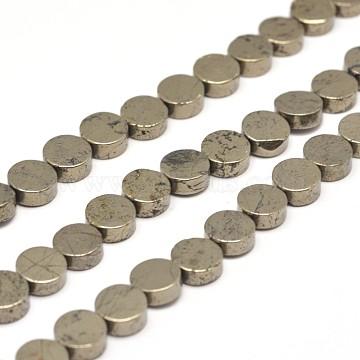 8mm DarkKhaki Flat Round Pyrite Beads