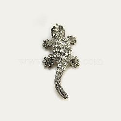 Perles de strass en alliage, Grade a, gecko, gunmetal, cristal, 28x13x6.5mm, Trou: 2mm(X-RB-B069-A01B)