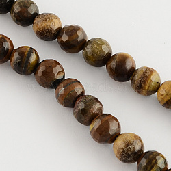 Natural Tiger Eye Round Bead Strands, Faceted, 10mm, Hole: 1mm; about 38pcs/strand, 14.5inches