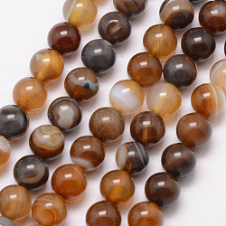 Natural Striped Agate/Banded Agate Bead Strands, Round, Dyed & Heated, SaddleBrown, 8mm, Hole: 1mm; about 47pcs/strand, 15